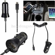 Universal 12V Dual Outlet In Car Charger Fast Adapter + Micro USB Coiled Cable
