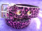 LEOPARD SPOT PINK FURRY BELT FREE UK POSTAGE NEW GOTHIC-PUNK-EMO