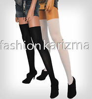 SEXY BLACK OR WHITE OVER THE KNEE THIGH HIGH COTTON SOCKS GREAT SCHOOL SOCKS  R3