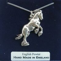 Shire Horse Necklace in Fine English Pewter, Handmade and Gift Boxed