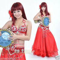 Brand New Sexy Belly Dance 2 Pcs Costume Bra & Belt Handmade 7 Colors Available