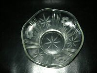 Fruit Bowl/ Trifle Bowl Clear Etched (by hand) Glass - Victorian/ Edwardian