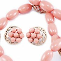 Vintage Necklace Clip Earrings  Coral-Colored Bead 1950S