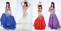 Brand New Sexy Belly Dance 2 Pcs Costume Bra & Belt 4 Colors Available Hand Made