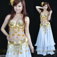 Brand New Sexy Belly Dance 2 Pcs Costume Bra & Belt Gold Color Free Shipping