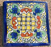 """10~MEXICAN TALAVERA POTTERY 4"""" tile Hand Painted kiln fired Blue +  Italy CD"""