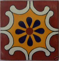 "90 Ceramic Talavera Tiles Handmade Mexican Tile 4"" C055"
