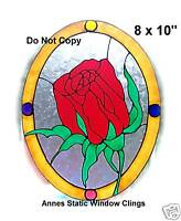 ROSE DOOR WINDOW CLING DECORATION STAINED GLASS EFFECT SUN CATCHER DECAL MOTIF