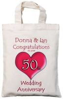 PERSONALISED - 50th WEDDING ANNIVERSARY GIFT BAG Golden