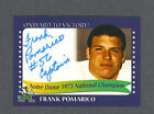 Frank Pomarico signed Notre Dame 1973 Champions card
