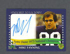 Mike Fanning signed Notre Dame 1973 Champions card