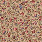 """COTTON UPHOLSTERY CURTAIN FABRIC ANTIQUE TINY FLORAL BEIGE BLUE ALLOEVER 44""""W"""