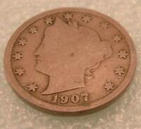 1907 Liberty Head V NICKEL 5 CENTS  Five CENT COIN