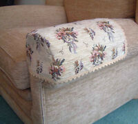 PAIR BOUQUET ARM CAPS/COVERS FOR CHAIRS/SETTEES. JUMBO