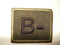 Olive Green Velcro Blood Group Patch, Badge, Army, B-