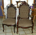 Pair Walnut Carved His Her Parlor Chairs Sidechair Armchair  (SC203)