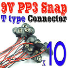 10 pcs 9V PP3 Battery SNAP Clip Connector T Type Leads