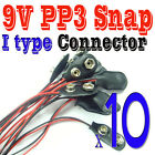 10 pcs 9V PP3 Battery SNAP Clip Connector I Type Leads