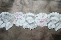 """3 yards White  LEAF STRETCH trim sewing lingerie headband LACE sequins 2"""" wide"""
