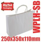50 Boutique White Kraft Paper Gift & Shopping Bags Twist Rope Handle 250x350x110