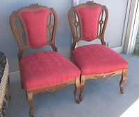Pair of Carved French Sidechairs/ Parlor Chairs  (SC38)