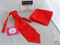 BOYS Flame RED Polyester Ruche-Tie Cravat and Hankie Set More U Buy  More U Save