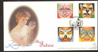 #GB A G BRADBURY FDC 2001 FACE PAINTINGS SIGNED BY RUSSELL GRANT LTD EDITION