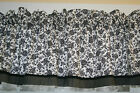 "Black Floral Toile Valance on White 17"" X 81"" Drapery Weight Curtain Can Alter"