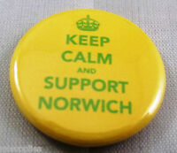 KEEP CALM AND SUPPORT NORWICH. 25mm Pin Button Badge.NORWICH FOOTBALL SUPPORTERS