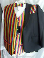 """Any RAINBOW Multis Mens Silk Waistcoat-46""""-56"""" With/Without Bow tie & Hankie Set"""