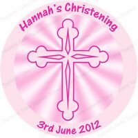 Personalised Cross Girls Christening Round Edible Icing Cake Topper