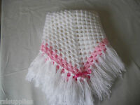 hand crochet white and pink shawl/blanket