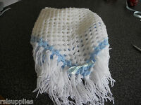 hand crochet white and blue shawl/blanket
