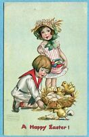 S6712 Gassaway Easter postcard, Nest of hatching chicks, Tuck, Embossed