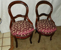 Pair Burl Walnut Carved Parlor Chairs Sidechairs  (SC155)
