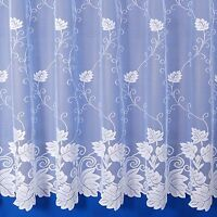 VERMONT PREMIUM QUALITY FLORAL NET CURTAIN IN WHITE - SOLD BY THE METRE