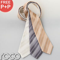 Boys Formal Occasion Full Length Tie Thick Striped Wedding Tie Gold Silver Cream