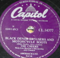 THE CHEERS ~ BLACK DENIM TROUSERS ~ UK 78 RPM RECORD ~ ROCK 'N' ROLL ROCKABILLY