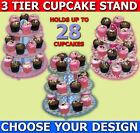 PINK BLUE 3 TIER CUP CAKE FAIRY MUFFIN CUPCAKE PARTY DECORATING STAND JUBILEE