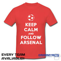 PRINTED KEEP CALM FOOTBALL SUPPORTER T SHIRT ADULT/KIDS SIZES - ARSENAL