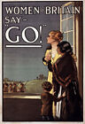 W91 Vintage WWI Woman Of Briton Say Go British Army War Poster WW1 Re-Print A4