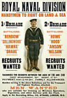 WA74 WWI British Royal Navy Men Wanted Recruitment War Poster WW1 Re-Print A4