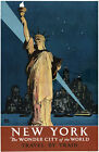 TX120 Vintage New York Wonder City America Travel Poster Re-Print A4