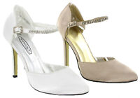 New Womens Full Back Diamante Court Shoe Ankle Strap Bridal Party Sandals UK 3-8