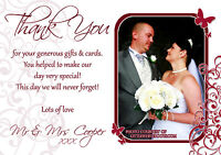 10 Personalised Wedding Thank You Cards Photo Red Butterflies Butterfly Burgundy