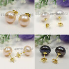 s006 AAA 9-10mm 10-11mm 11-12mm White Pink Black Freshwater Pearl Earring