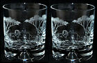 *LION GIFT* Boxed PAIR GLASS WHISKY TUMBLER with LION SCENE