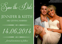 10 Personalised Save The Date Wedding Cards Invites Vintage Poster Green Sage