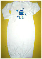 Personalized Baby Boy or Girl OWL SLEEPER Gown T Shirt & BIB Outfit Gift SET