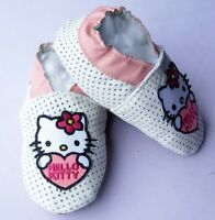 Soft sole leather baby shoes white summer KITTY 18-24 chaussons cuir blanc hello